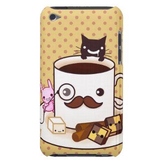 De leuke kop van de snorkoffie met kawaiidieren iPod touch hoesje