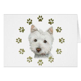 De leuke Kunst en de Poten van de Hond Westie Kaart