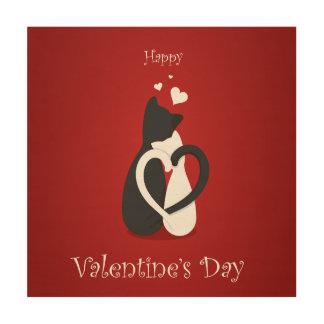 De leuke Liefde van de Katten van de Valentijnsdag Houten Canvas Print