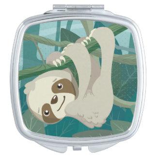 De leuke Luiaard van het Baby op een Tak Reisspiegeltje