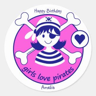 De leuke Moderne Heldere Roze Piraat van het Ronde Stickers