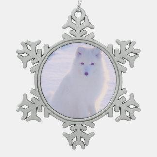 De leuke Ontworpen Foto van de Vos van de Winter Tin Sneeuwvlok Ornament