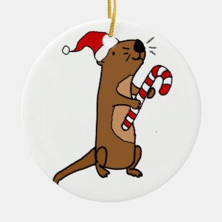 De leuke Otter van het Zee in de Cartoon van Rond Keramisch Ornament