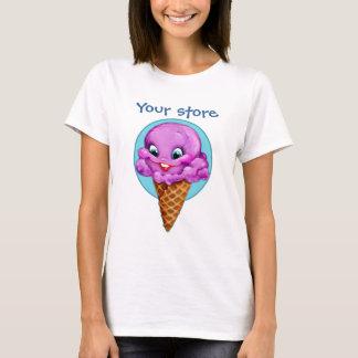 De leuke paarse kegel van het frambozenroomijs met t shirt