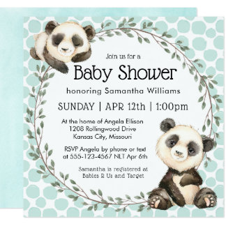 De leuke Panda draagt Vierkant Baby shower Kaart