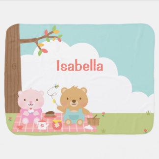 De leuke Partij van de Picknick van de Teddybeer Inbakerdoek