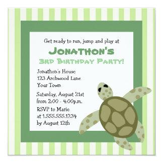 De leuke Partij van de Verjaardag van de Schildpad 13,3x13,3 Vierkante Uitnodiging Kaart