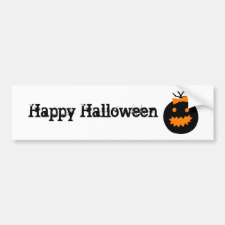 De leuke pompoen van Halloween met boog Bumpersticker