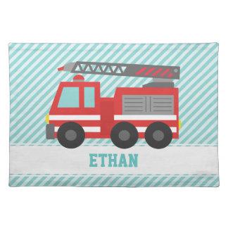 De leuke Rode Vrachtwagen van de Brand voor Kleine Placemat