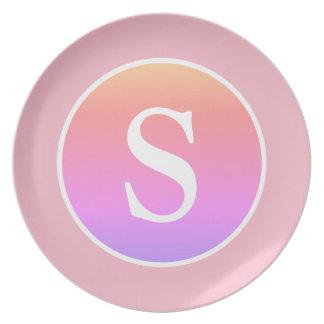 De leuke Roze Cirkel & het Monogram van de Melamine+bord