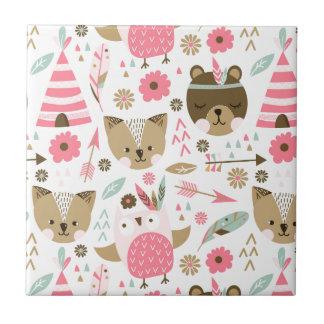 de leuke roze en bruine druk van het teddybeerbaby tegeltje