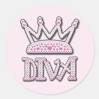 De leuke Roze Gedrukte Diva van Parels Kroon van Ronde Sticker