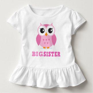 De leuke roze grote zuster van de cartoonuil girly kinder shirts