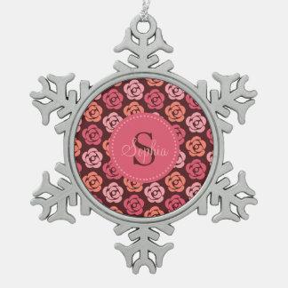 De leuke Roze Kastanjebruine BloemenSneeuwvlok van Tin Sneeuwvlok Ornament