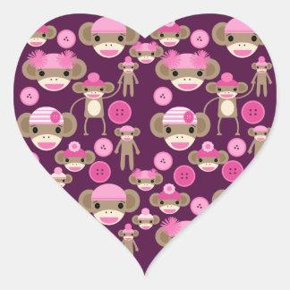 De leuke Roze Meisjes van de Apen van de Sok Girly Hart Sticker