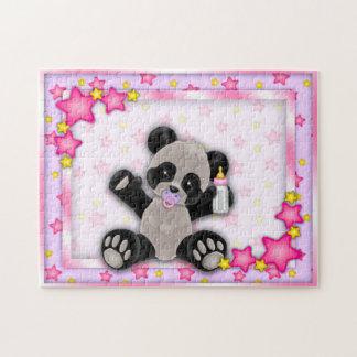De leuke Roze Panda van het Baby draagt Raadsel Puzzel
