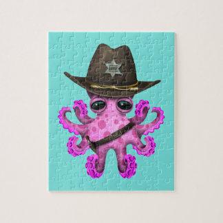 De leuke Roze Sheriff van de Octopus van het Baby Puzzel