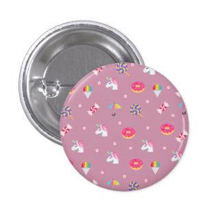 de leuke roze snoepjes van emojieenhoorns bloeit ronde button 3,2 cm