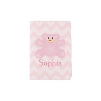De leuke Roze Teddybeer van de Pastelkleur Girly Paspoort Houder
