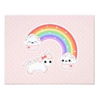 De leuke Roze Verjaardag van de Eenhoorn 10,8x13,9 Uitnodiging Kaart