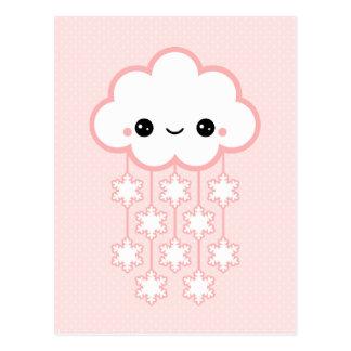 De leuke Roze Wolk van de Sneeuw Briefkaart
