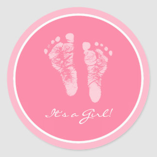 De leuke Roze Zijn Voetafdrukken van het Baby een Ronde Sticker
