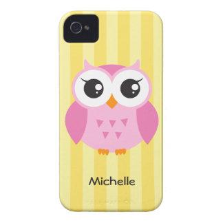 De leuke schattige roze gele naam van de uil dierl iPhone 4 hoesje