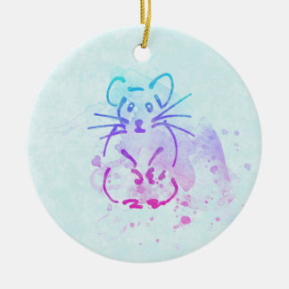 De leuke Schets van de Hamster - personaliseer Rond Keramisch Ornament