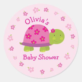 De leuke Schildpad personaliseerde Roze Sticker