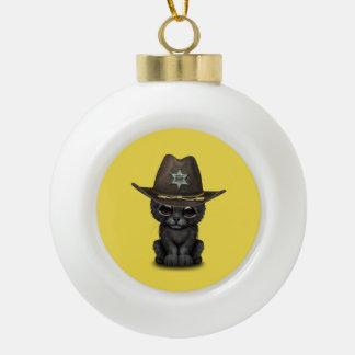 De leuke Sheriff van de Welp van de Panter van het Keramische Bal Ornament