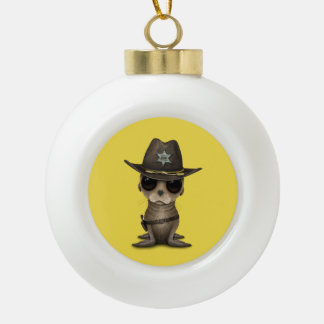 De leuke Sheriff van de Zeeleeuw van het Baby Keramische Bal Ornament