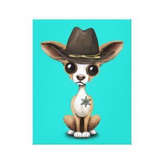 De leuke Sheriff van het Puppy Chihuahua Canvas Print