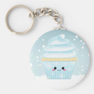 De leuke Sneeuwvlok van Kerstmis Kawaii cupcake Basic Ronde Button Sleutelhanger