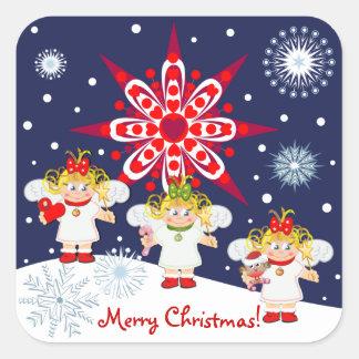 De leuke sticker van Kerstmis met tekst, engelen &