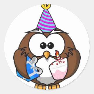 De leuke Stickers van de Verjaardag van de Uil van
