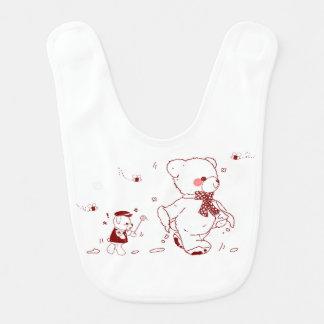 De leuke Teddybeer met Baby draagt slab 2 Slabbetje