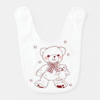 De leuke Teddybeer met Baby draagt slab Baby Slabbetje