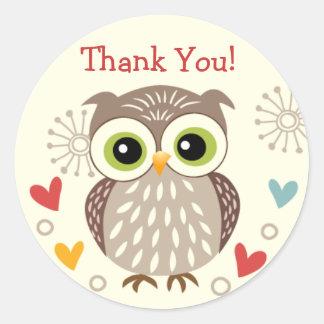 De leuke Uil en de Harten danken u Stickers
