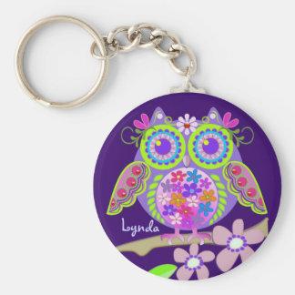 De leuke Uil van Flower power met Naam keychain Sleutel Hanger