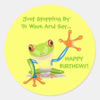 De leuke Verjaardag van de Golf van de Kikker Ronde Sticker
