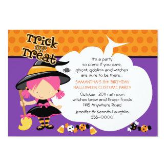 De leuke Verjaardag van Halloween van de Heks en 12,7x17,8 Uitnodiging Kaart