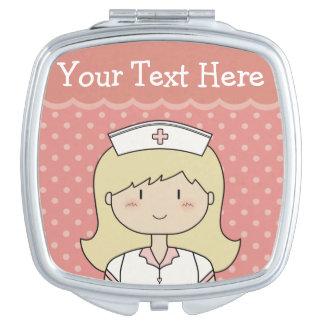 De leuke Verpleegster van de Cartoon (blonde) met Makeup Spiegels