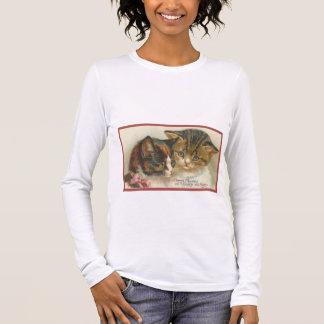 De leuke Vintage Katten van Kerstmis T Shirts