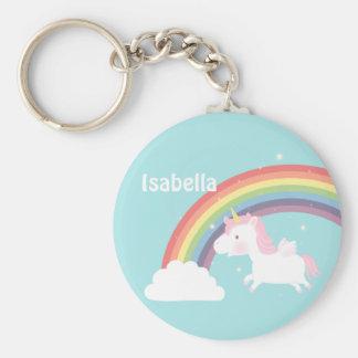 De leuke Vliegende Regenboog van de Eenhoorn voor Basic Ronde Button Sleutelhanger
