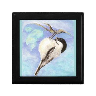 De leuke Vogel die van de Waterverf Chickadee onde Decoratiedoosje