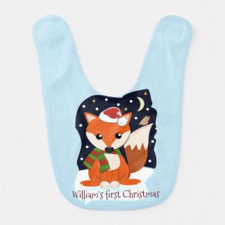 De leuke vos van de Kerstman en douanetekst/naam Baby Slabbetje