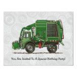 De leuke Vrachtwagen van het Afval van de 10,8x13,9 Uitnodiging Kaart
