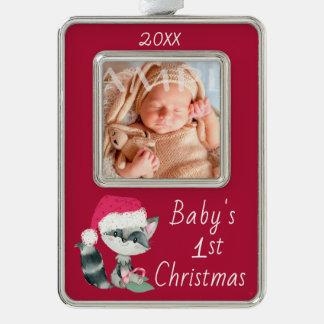 De leuke Wasbeer van het Baby van 1st Kerstmis Verzilverd Omlijst Ornament