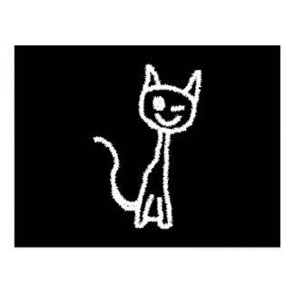 De leuke Witte Cartoon van de Kat. Op Zwarte Briefkaart