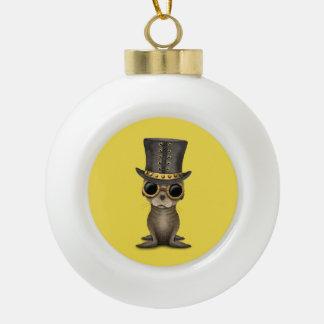 De leuke Zeeleeuw van het Baby Steampunk Keramische Bal Ornament